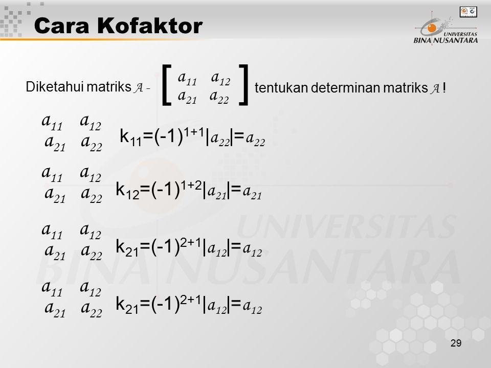 [ ] Cara Kofaktor a11 a12 a21 a22 a11 a12 a21 a22 a11 a12 a21 a22